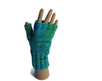 wristwarmers fingerless gloves  blue green merino wool