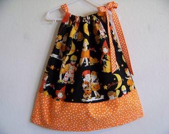 Retro Halloween Kids in Costume Pillowcase Dress available in sizes 3-6 mon,6-9 mon, 12 mon, 18 mon,2T,3T,4T