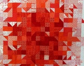 Orange Modern Abstract Patchwork Quilted Throw