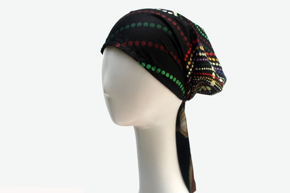 Black Fashion Head Scarf Light Italian Cotton Hair Tie