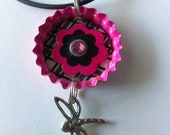 Pink Bottlecap Flower Necklace with Dragonfly Charm and Crystal