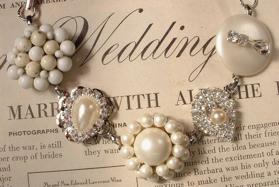 Vintage White Ivory Pearl, Crystal & Rhinestone Bridal Bracelet, Cluster Earring Bracelet OOAK Heirloom