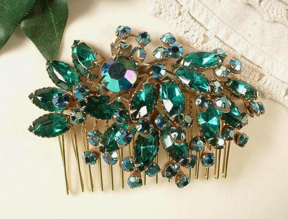 Large Peacock Emerald & Teal Green Rhinestone Bridal Hair Comb -  22K Gold TRUE Vintage Heirloom Brooch HairComb