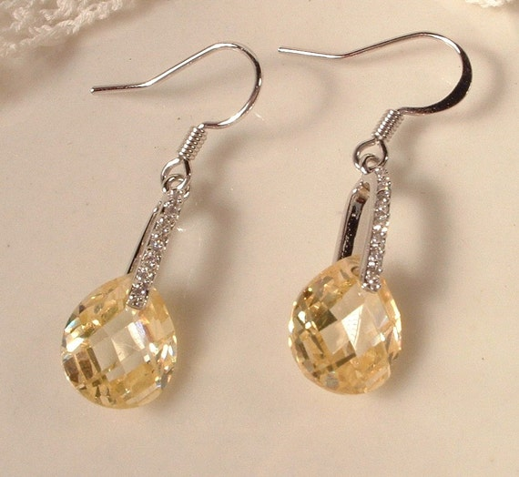 Vintage Citrine Crystal & Clear Rhinestone Bridal Dangle Earrings EXQUISITE Pierced