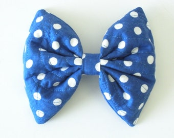 Kawaii Hair Bow, Blue And White Polka Dots, Hair Bow Clip Rockabilly