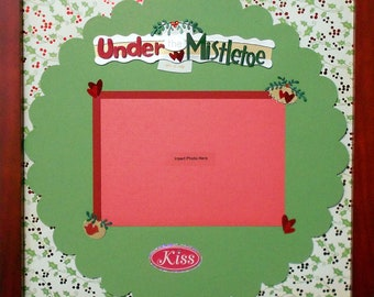 UNDER THE MISTLETOE Premade Memory Album Page (Cherry Veneer Shadow Box Frame Sold Separately)