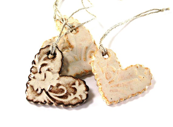 two ceramic heart ornaments christmas tree ornaments holiday ornaments gift tags chocolate brown handmade stoneware pottery