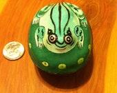 Handpainted Vintage Porcelain Frog Trinket Box with Brass Outline