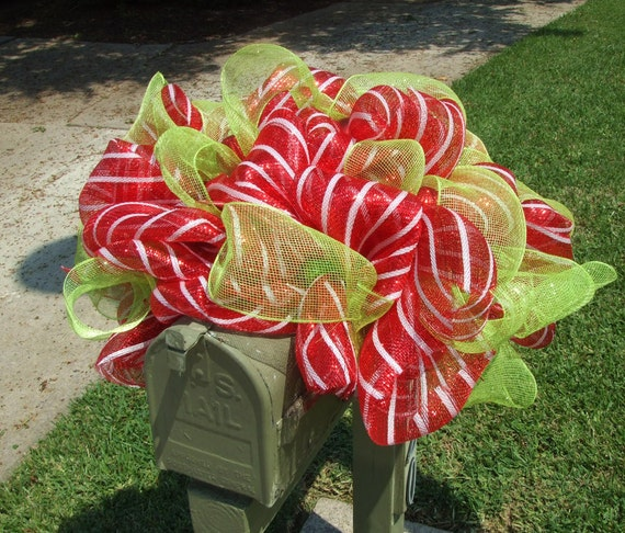 Deco Mesh Mailbox Swag, Christmas Mailbox Decoration, Mailbox Swag, Deco Mesh Wreath