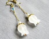 CAVATINE White Tulip Earrings elegant delicate long dangle gold chain and pearl