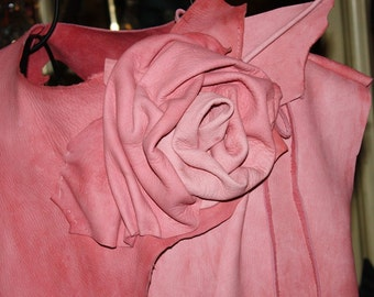 showdiva designs Distressed Pink Leather Asymmetrical Vest with Sculpted Rose