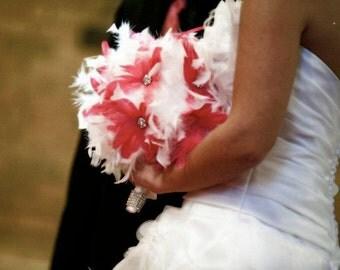 Pink flower feather bridal/bridesmaids bouquet