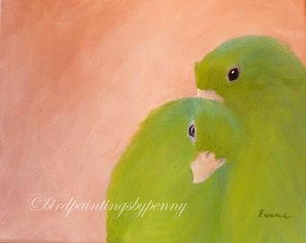 IN LOVE BIRDS Painting.  8 x 10 original parrot painting