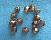 SALE!!  Bead, Preciosa Czech, fire polished, glass, copper luster, 6mm, faceted round, Pkg Of 14  SALE!!