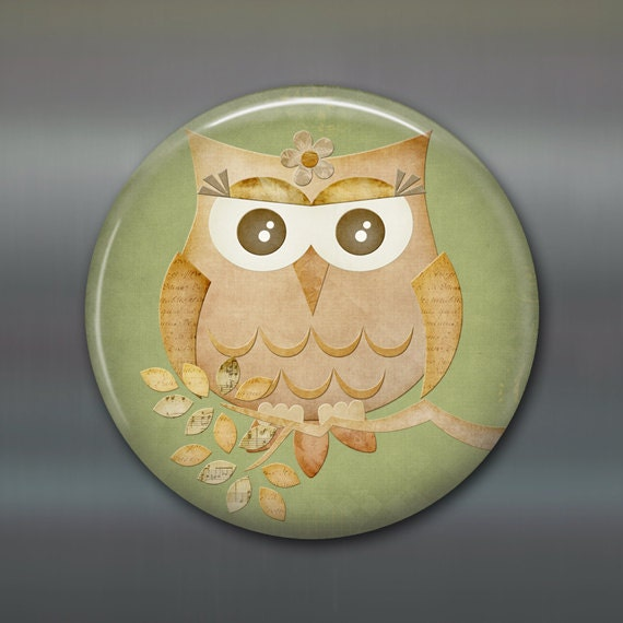 Items similar to 3 5 cute owl fridge magnet owl decor Owl kitchen accessories