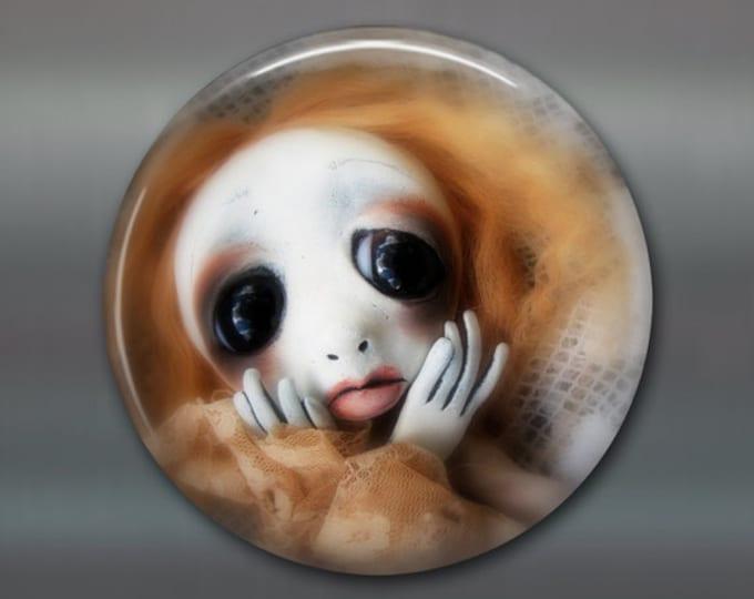 "3.5"" gothic doll fridge magnet, large magnet, kitchen decor, gothic art decor, stocking stuffer gift for her MA-AD46"
