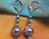 Boulder opals combine with amber & blue on silver earrings