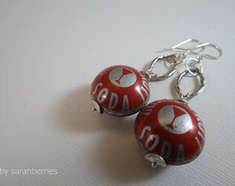 Earrings: Bottle Cap Bead, Sterling Silver Earrings by sarahberries 120007BC