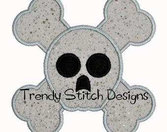 Skull and Crossbones Applique Design Machine Embroidery Design INSTANT DOWNLOAD