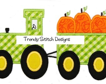 Tractor with Pumpkins Applique Design Machine Embroidery Design INSTANT DOWNLOAD