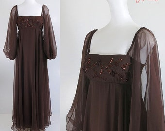 60s 70s evening dress / brown chiffon gown / renaissance revival formal dress / empire waist long evening dress / Gibson's