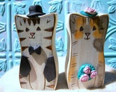 Two Cats Wedding Cake Topper, Natural Wood, Cats or ANY animals Keepsakes  or Cake Topper, Personalized for Your Wedding