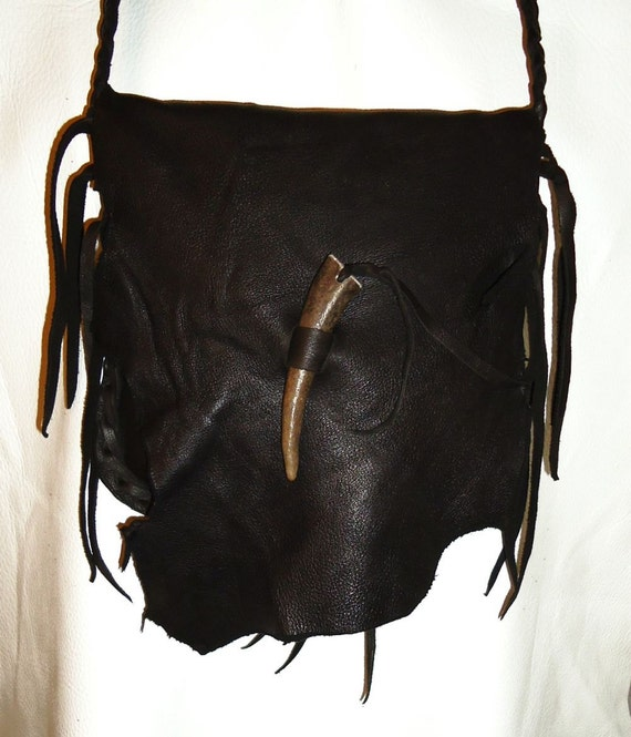 bitter chocolate possibles bag deer skin leather by