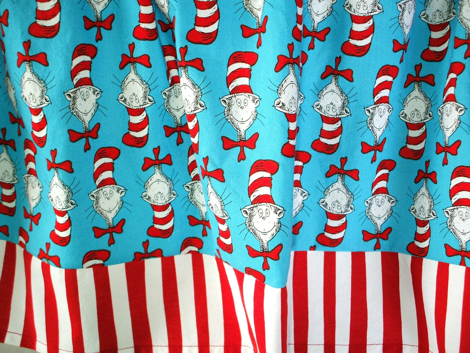 Valance Dr Seuss Cat In The Hat With Red And White Bottom