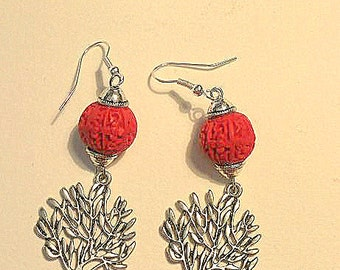 Red Cinnabar Earrings with Tibet Silver Lucky Tree