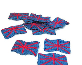 British Flag Patch, Union Jack Applique, Flag Patch, Blue and Red, Embroidered Applique, Embroidered, Blue, Red, Patch, Lot of 12