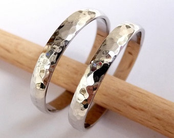 Wedding band set white gold women's men's Wedding ring set 3mm wide by 1.2mm thick hammered shiny
