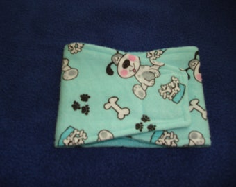 Super Soft Flannel Belly Band - Male Dog Diaper -  Aqua with dogs,paws and bones - Available in all sizes