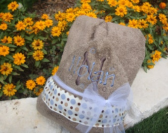 Personalized, Embroidered/Monogrammed Children's Hooded Towel with Child's Name Included for Free