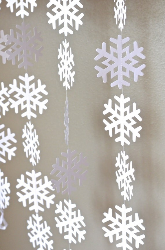 Frozen Snowflake Garland - large frozen snowflake banner in white or glitter white, 10 or 20 feet long