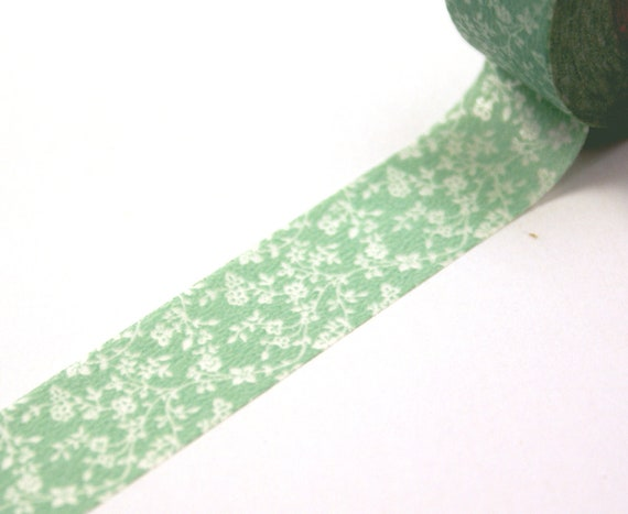 Tiny Garden Roses and vines on Mint Green Washi Paper Masking Tapes-16.5 yards total