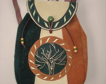 "Suede Backpack ""Druid Tree"""