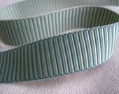 AQUA blue and MINT green Striped woven Ribbon