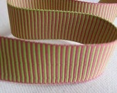 HOT Pink and LIME Green Striped ribbon