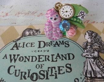 Chesshire Cat.vintage Alice in Wonderland inspired adjustable ring