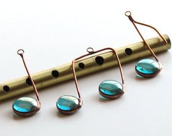 Three Glass Musical Notes Aqua Iridescent and Copper Suncatcher Ornaments