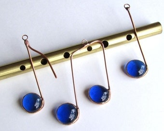 Three Glass Musical Notes Cobalt Blue and Copper Suncatcher Ornaments