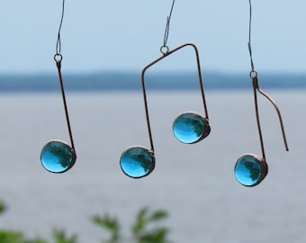 Three Glass Musical Notes Turquoise and Copper Ornaments Stained Glass Music Note Suncatchers Gift for Music Lover