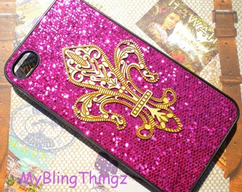 Brass - Metal Stamping - Fleur De Lis on Hot Pink Fuchsia Glitter Sparkle Bling Case Cover for Apple iPhone 4 4G 4S AT&T Verizon Sprint