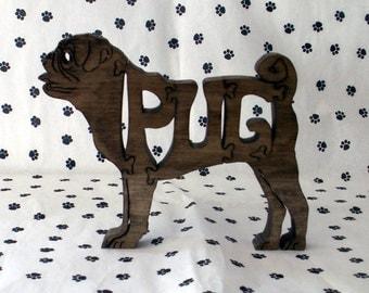 Pug Handmade Fretwork Wood Puzzle