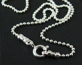 925 Sterling Silver Necklace Chain - Ball Chain Necklace -Tiny Beaded Ball Chain- Finished Necklace Chain - All Sizes -Sku: 601050