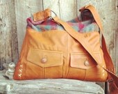 Eco Fashion Sale The Cabin Recycled Leather Messenger With Recycled Plaid Wool Accent By 14X