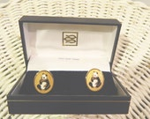 Vintage Panda 22K Gold Plated Cuff Links