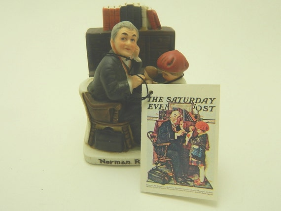 """Vintage Norman Rockwell """"Doctor and the Doll"""" - Dave Grossman Miniature Figurine Collection NR-212- 1979"""