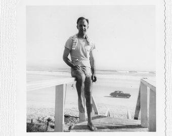 DAYTONA BEACH SNAPSHOT, Black and White Real Photo, 1949, Car on Beach, Smoking Man, Vintage