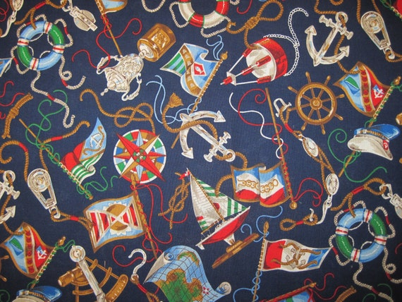 Nautical  Fabric VIP by Joanne Messmore for Cranston Printworks 1/2 yd